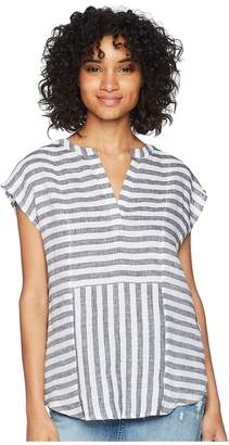 Vince Camuto Cap Sleeve Resort Stripe Linen Blouse Women's Blouse