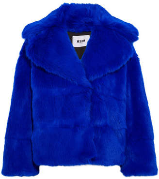 MSGM Faux Fur Jacket - Blue