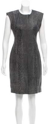 Kimberly Ovitz Embossed Leather Sheath Dress