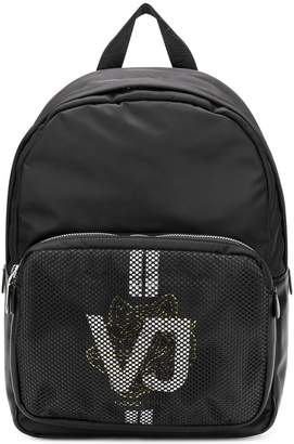 Versace mesh logo print backpack