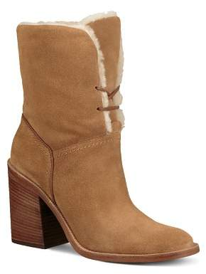 UGG Women's Jerene Round Toe Suede & Sheepskin High-Heel Booties