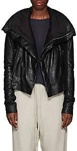 Rick Owens Women's Padded Blistered-Leather Biker Jacket-Black