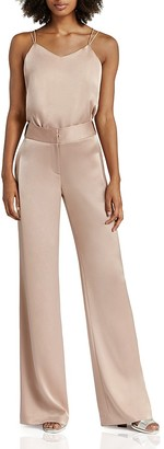HALSTON HERITAGE Wide-Leg Satin Trousers $325 thestylecure.com