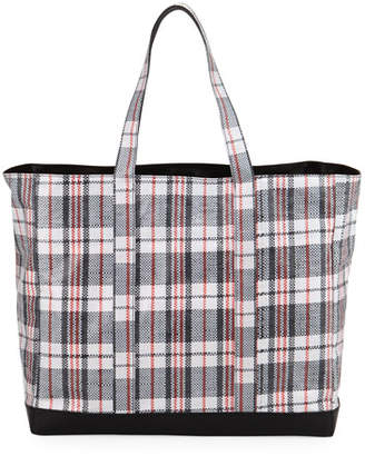 Helmut Lang Woven Plaid Shopping Bag