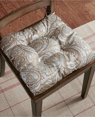 Madison Park Aubrey Tufted Paisley-Jacquard Square Chair Pad Pair