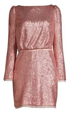 Rachel Zoe Women's Cadence Long-Sleeve Open Back Sequin Dress - Light Pink - Size 0