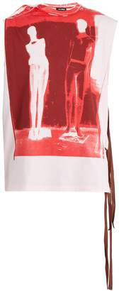 Raf Simons Sleeveless graphic-print cotton-jersey T-shirt