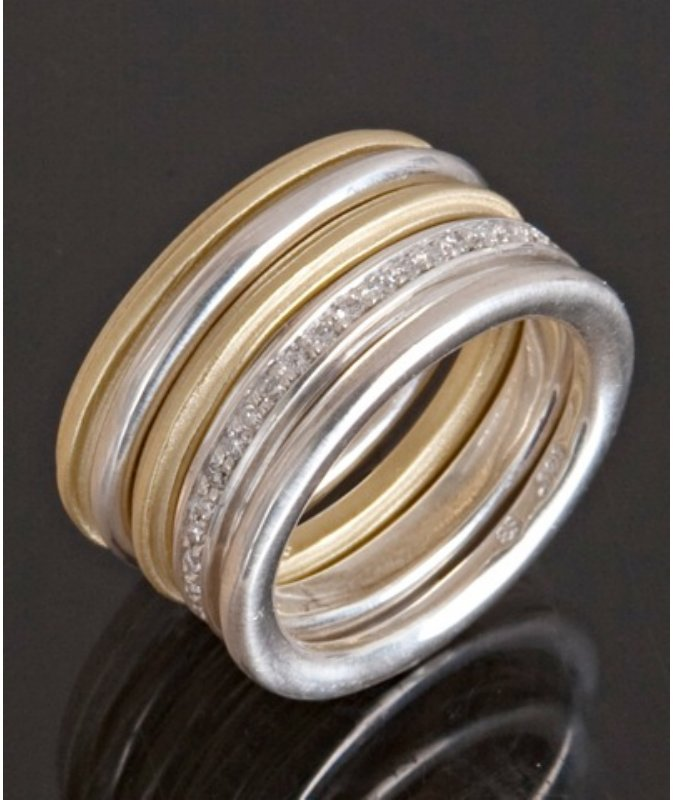 Slane & Slane Set of 5 - sterling silver and 18kt gold 'Column' stacking rings