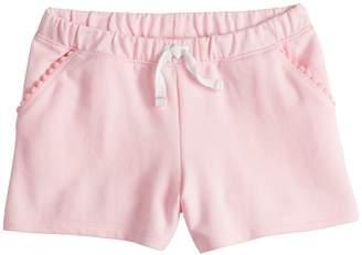 Girls 4-10 Jumping Beans Pom-Pom Trim Pockets French Terry Shorts