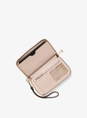 MICHAEL Michael Kors Mercer Large Scalloped Leather Smartphone Wristlet