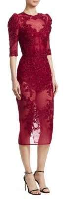 Murad Zuhair Lace& Mesh Illusion Midi Dress