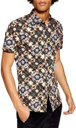 Topman Star Floral Skinny Smart Woven Shirt