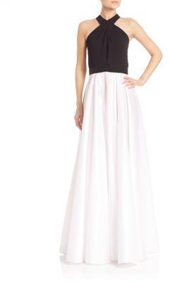 Carmen Marc ValvoHalterneck Shantung Gown