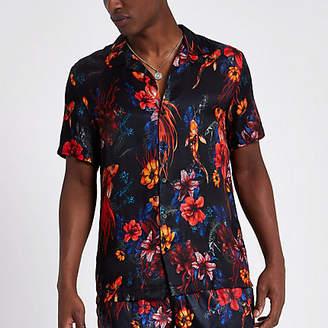 River Island Black floral fish short sleeve revere shirt