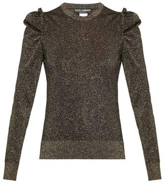 Dolce & Gabbana Ruffled Lame Sweater - Womens - Black Gold