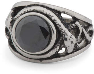 Men's Cz Stainless Steel Signet Ring