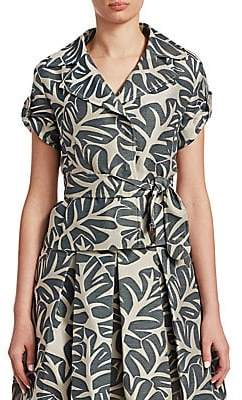 Akris Punto Women's Tropical Leaves Jacquard Top