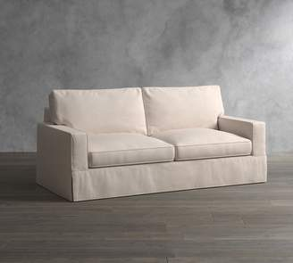 At Pottery Barn · Pottery Barn PB Comfort Square Arm Slipcovered Sleeper  Sofa With Memory Foam Mattress