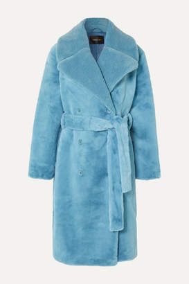 Stine Goya Happy Double-breasted Faux Fur Coat - Light blue