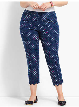 Talbots Plus Size Exclusive Hampshire Scallop Crop Pant - India Ink-Magenta