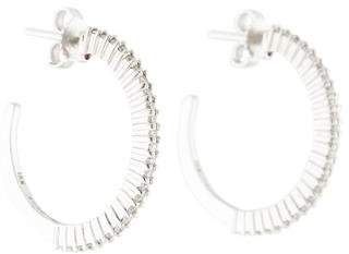 Roberto Coin 18K Diamond Knife Edge Hoops