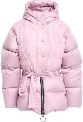 Ienki Ienki Belted Paneled Quilted Shell Hooded Coat