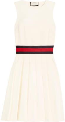 Gucci Jersey-trimmed Pleated Twill Mini Dress - Ivory