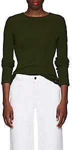 Paco Rabanne Women's Tubular-Sleeve Rib-Knit Stretch-Wool Sweater - Army