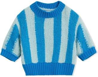 Burberry Short-sleeve Striped Silk Sweater