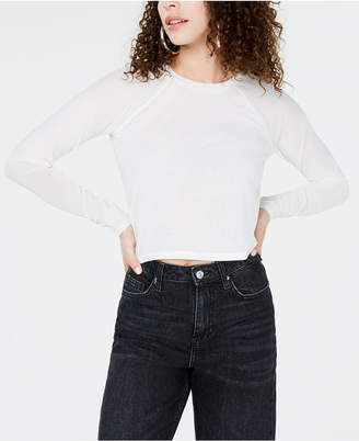 Material Girl Juniors' Illusion-Sleeved Crop Top