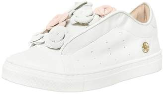 Miss Blumarine Nappa Leather Sneakers W/ Suede Flowers