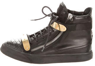 Giuseppe Zanotti Leather High-Top Sneakers $225 thestylecure.com