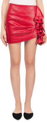 Magda Butrym Boca Fitted Side-Ruffle Basketweave Leather Mini Skirt