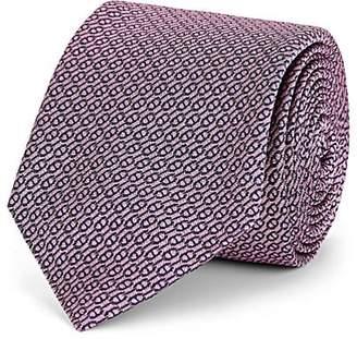 Barneys New York Men's Chain-Link-Pattern Silk Jacquard Necktie - Pink