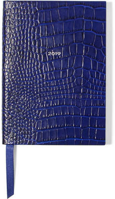 Smythson Soho 2019 Croc-effect Leather Diary - Cobalt blue