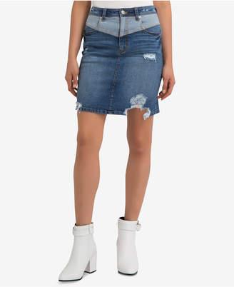 Jordache Sloane Ripped Denim Skirt