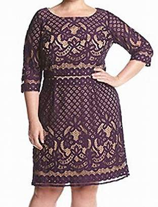 Gabby Skye Women's Plus Size Long Sleeved Crochet Lace Fit and Flare Dress