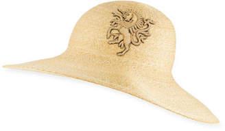 Philip Treacy Straw Sun Hat w/ Unicorn Logo