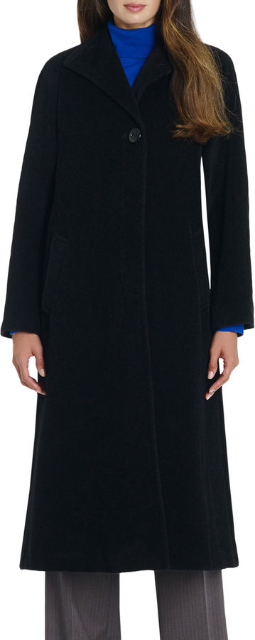Jones New York Long Wool Coat with Wing Collar