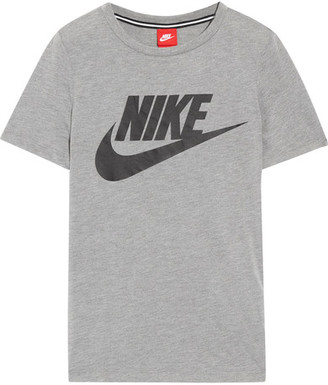 Nike - Essential Printed Stretch-jersey T-shirt - Gray $40 thestylecure.com