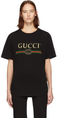 6195af18 Gucci Black Oversized Logo Flower T-Shirt