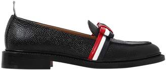 Thom Browne 20mm Striped Bow Pebble Leather Loafers