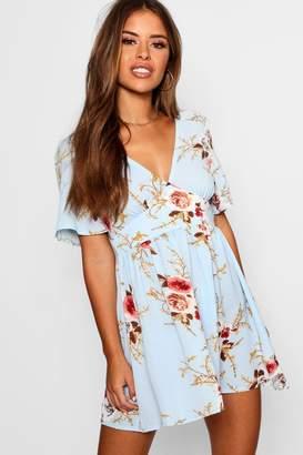boohoo Petite Woven Floral Plunge Skater Dress