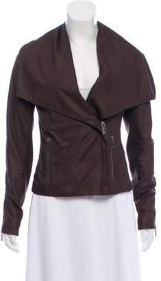 Vince Leather Knit-Trim Jacket