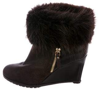 Sergio Rossi Fur-Trimmed Wedge Booties