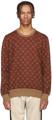 Gucci Brown and Orange GG Logo Sweater