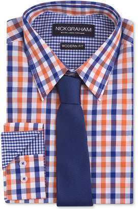 Nick Graham Men's Modern Fitted Multi-Gingham Dress Shirt & Solid Tie Set $59.50 thestylecure.com
