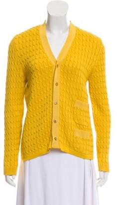 Salvatore Ferragamo Cable Knit Button Front Cardigan