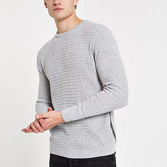 River Island Grey cable knit muscle fit sweater