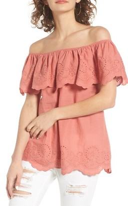 Women's Bp. Eyelet Ruffle Off The Shoulder Top $55 thestylecure.com